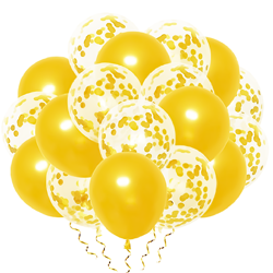 A set of gold chrome balloons with confetti, 10 pieces