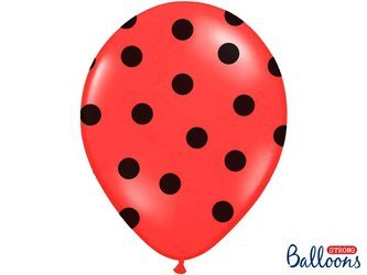 Balloons black dots on red dots 30cm (1 op. / 6 pcs.)