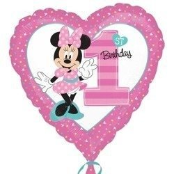 "Foil balloon 'Minnie Mouse 1st Birthday ""Heart on a year old, 43cm"