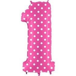 Foil balloon Number 1 in Pink Dotted - 102 cm Grabo