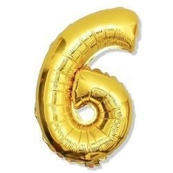 Number 6 Foil Balloon 42 inch, Gold