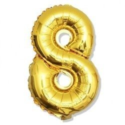 Number 8 Foil Balloon 42 inch, Gold
