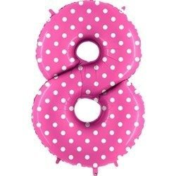 The foil balloon numeral 8 pink dotted - 102 cm Grabo