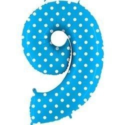 The foil balloon numeral 9 Turquoise Blue dotted - 102 cm Grabo