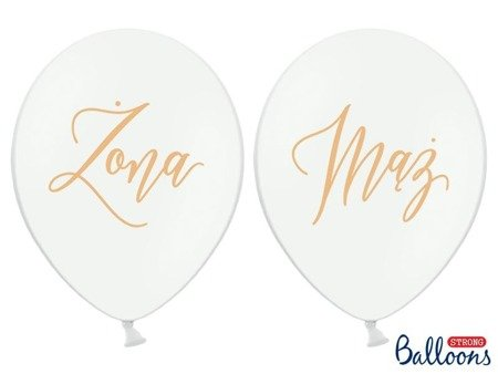 Balloons 30cm, Wife, Husband, Pastel Pure White (1, Op. / 6 pcs.)