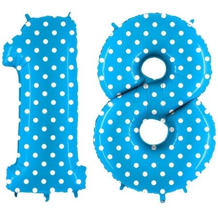 Balloons Foil 18 digits Birthday, Blue Dots in GRABO 102cm, set at eighteen