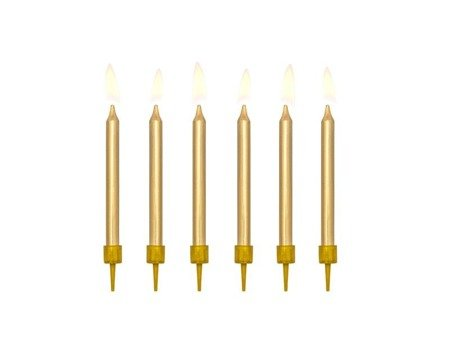 Birthday candles smooth, gold (1, Op. / 6 pcs.)