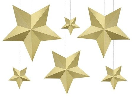 Decoration Star, Gold, different sizes, 6 pcs.