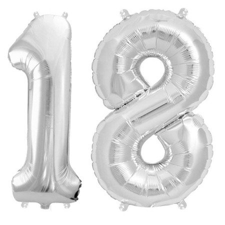 Foil balloons Numbers 18 Birthday Silver SLIM 100cm, set at eighteen