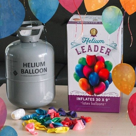 Helium cylinder with 0.25 m3 + 30 balloons, ribbon