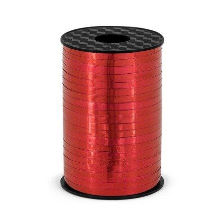 Plastic ribbon, red metallized, 5mm / 225m