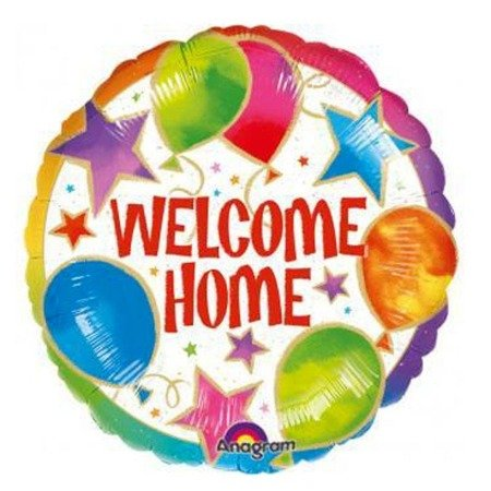 Round foil balloon welcome, Welcome Home, 46cm