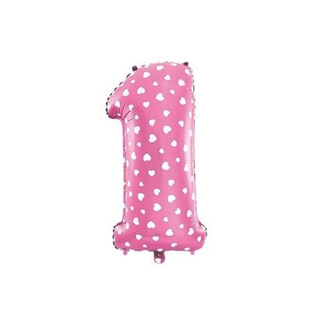 The foil balloon figure 1 - 40 cm Pink