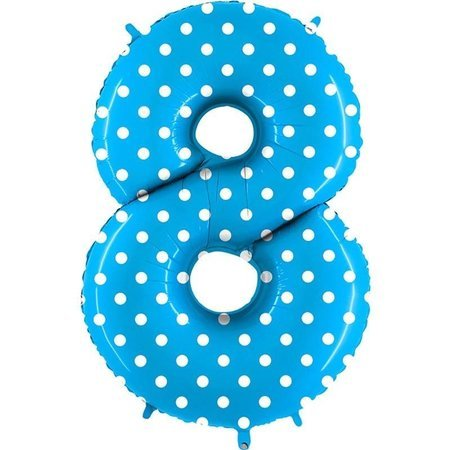 The foil balloon numeral 8 Turquoise Blue dotted - 102 cm Grabo