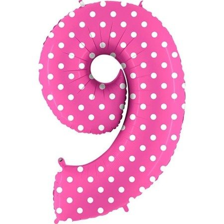 The foil balloon numeral 9 pink dotted - 102 cm Grabo